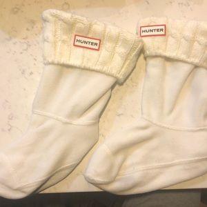 White Knit Short Hunter Rain boot socks